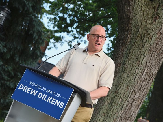 Windsor Mayor Drew Dilkens announced $4 million in sewer and stormwater infrastructure upgrades to a stretch of Eastlawn Avenue on Thursday, Aug. 26, 2021. Many homes in the neighbourhood were hit with flooding in 2016 and 2017. PHOTO BY KATHLEEN SAYLORS /Windsor Star